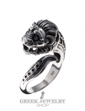 37 Sterling Silver Lion torc ring