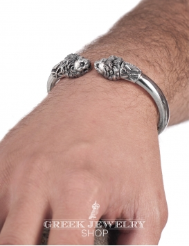 Silver men's large lion torc bracelet