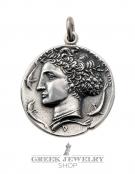 15/ME Syracuse dekadrachm - Arethousa/Persephone/Goddess Artemis coin pendant