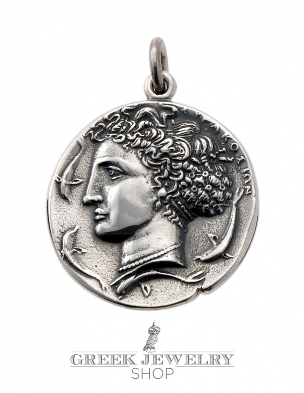 Greek jewelry shop greek silver coin pendant arethousa artemis 15me syracuse silver dekadrachm greek coin pendant mozeypictures Images