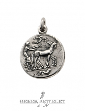 608 Silver Arethousa (nymph) and Artemis Persephone (Greek goddesses) silver coin pendant