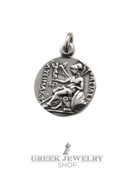 Alexander the Great coin reproduction. Greek coin pendant in silver