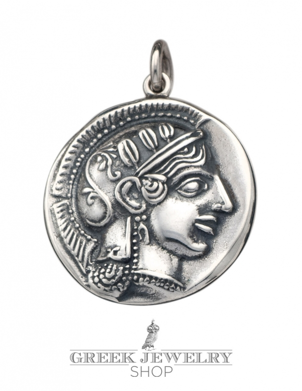 Greek jewelry shop coin pendant goddess athena and the owl of sterling silver athena and owl of wisdom coin pendant mozeypictures Choice Image