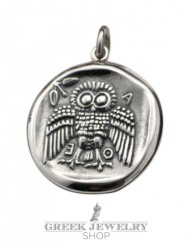 Greek Jewelry Shop Coin Pendant Goddess Athena And The