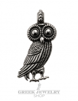Large Athens Wise Owl Pendant. Ancient jewelry reproductions from Greek Jewelry Shop