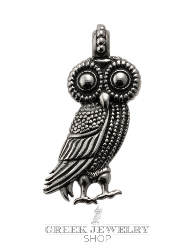Large Wise Owl Of Athena Pendant Symbol Of Civilization And Democracy