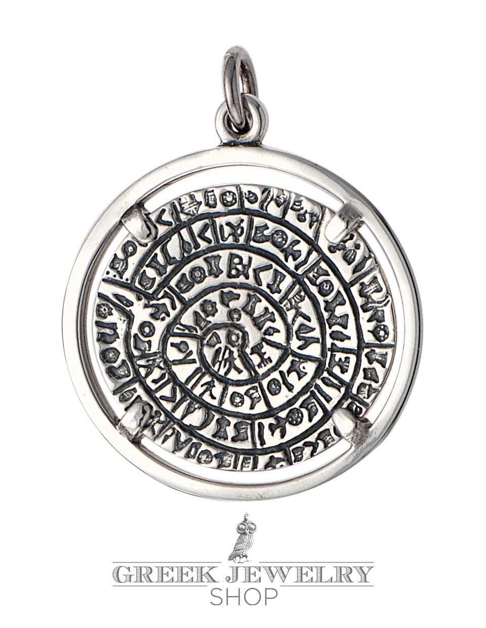 Greek silver pendants ancient coins symbols jewelry greek phaistos disk disc pendant jewelry mounted on silver bezel large biocorpaavc
