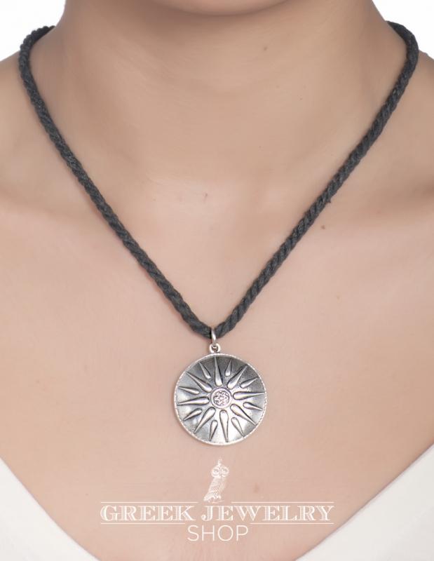 Greek jewelry shop symbols sun of vergina pendant silver size xl silver greek pendant mozeypictures Images