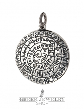Greek silver pendants ancient coins symbols jewelry greek large silver greek phaistos disc pendant from greek jewelry shop aloadofball Choice Image