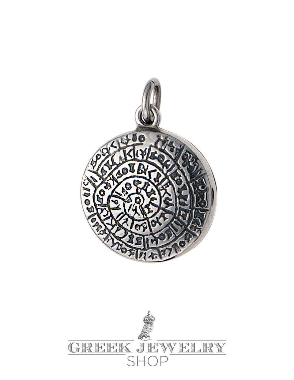 Greek silver pendants ancient coins symbols jewelry greek small silver phaistos disc pendant greek jewelry shop biocorpaavc