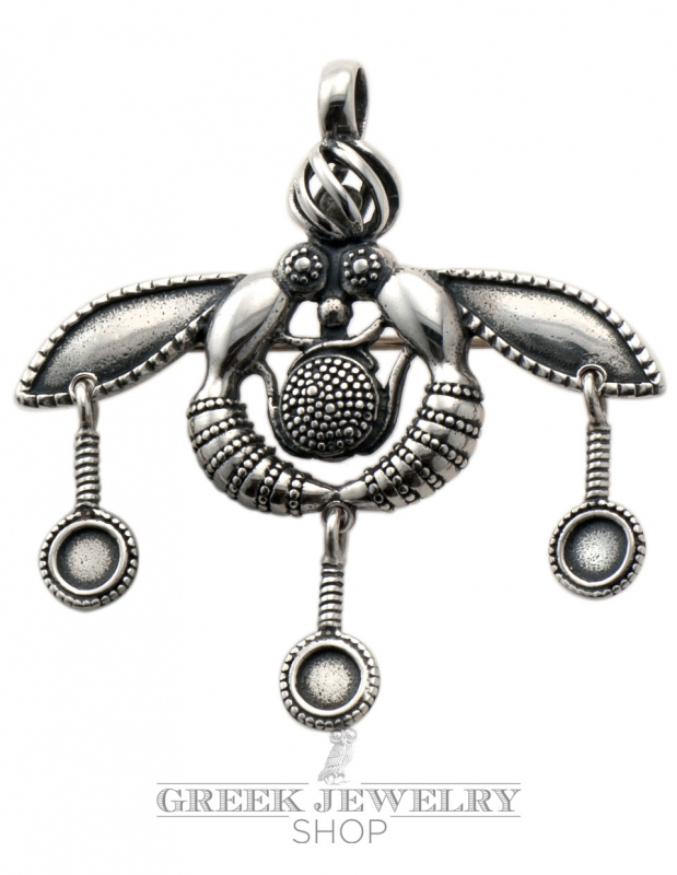 Xl malia bees pendant and brooch double use from sterling silver malia bees silver pendant brooch mozeypictures Choice Image