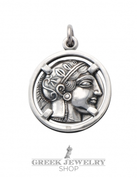Silver Athens tetradrachm coin pendant jewelry. head of the goddess Athena.