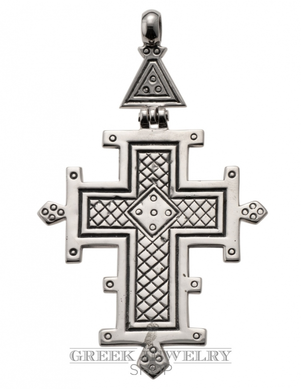 Byzantine crosses - Hinged geometric carving Large Greek