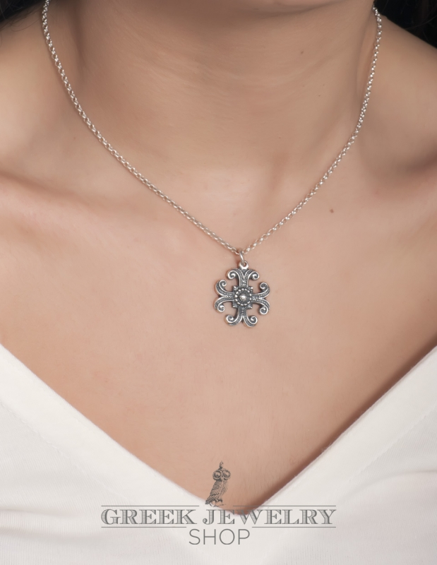 Small silver byzantine greek orthodox baptism cross 170 ornate small silver byzantine greek orthodox baptism cross pendant mozeypictures Images
