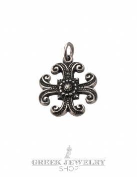 170 Ornate small Silver Byzantine (Greek orthodox) baptism cross pendant