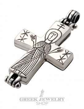650 Reliquary Cross Pendant. Sterling silver - side B Virgin Mary engraving