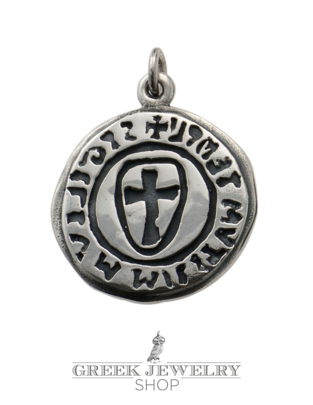 A100 masters of poitou masonic cross pendant from silver masonic seal sigilium templi cross seal templar pendant aloadofball Image collections