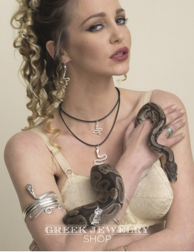 Snake goddess jewelry. Silver serpent armlet Greek Jewelry Shop bracelets