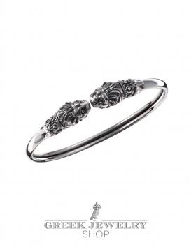Sterling silver Lion torc bracelet hand-made lion cuff