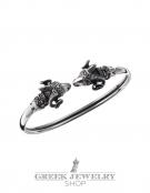246/A Sterling silver Ram torc bracelet (medium)