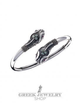 Double-Headed silver Snake Bracelet with Ruby & Emerald