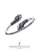 239/PE Double-Headed Ornate Snake Bracelet with Ruby & Emerald