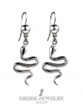 Minoan Silver Snake Earrings Large
