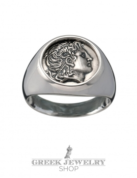 Alexander the great coin ring. Silver pinky ring with coin