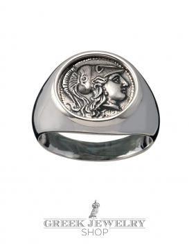 1104 Helmetted Athena sterling silver chevalier coin ring (M)