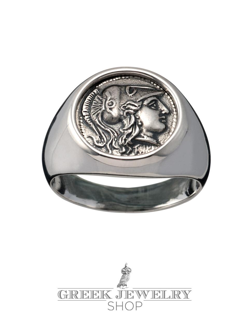 Greek goddess athena jewelry silver chevalier pinky coin ring biocorpaavc