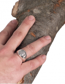 God Apollo Greek coin ring for pinky. Graduated silver ring symbolic of music and poetry