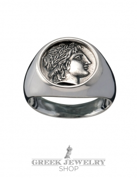 1105 Chalkidian League God Apollo chevalier coin ring (M)
