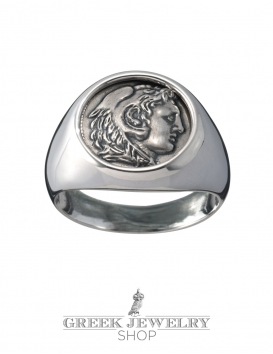 Herakles/Hercules Greek god of strength. Pinky signet chevalier coin ring in silver