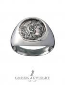 1102 Herakles/Hercules Alexander the Great lifetime chevalier coin ring (M)