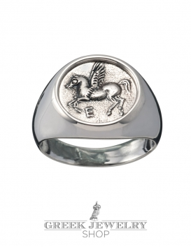 Pegasus mythoical horse silver chevalier coin ring. Greek jewelry shop