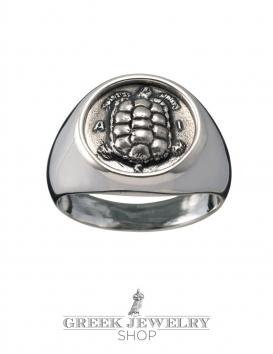 Silver Aegina Land Tortoise chevalier coin ring. (Zakynthos Kareta)