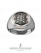 1109 Small Aegina Land Tortoise chevalier coin ring (M)