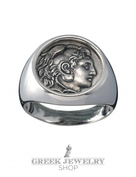 Herakles/Hercules Greek chevalier coin silver signet ring