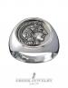 Greek Goddess Athena. Large silver coin ring. Greek Jewelry shop