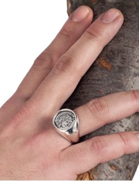 Ancient Goddess Athena (Minerva). Large silver coin ring.