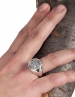 Ancient Goddess Athena (Minerva). Large silver coin ring.