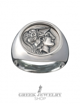 Greek Jewellery shop Silver Athena signet coin ring