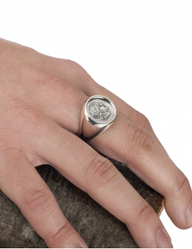 Greek God Apollo chevalier coin ring. Silver coin jewelry handmade in Greece at the Vaphiadis jewellery workshop