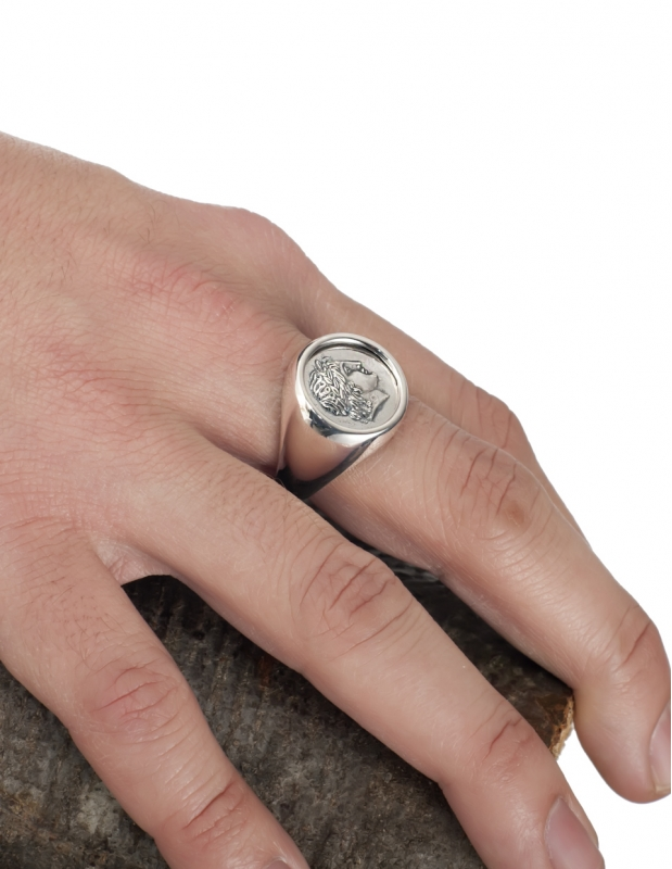 Greek God Apollo Chevalier Silver Coin Ring Large Signet