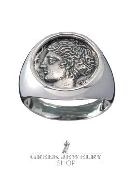 Arethousa - Artemis - Persephone Greek Goddess silver coin ring. Fine Greek Jewelry