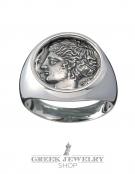 1119 Syracuse Arethousa/Artemis/Persephone chevalier coin ring, (L)