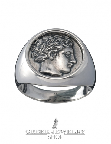Apollo God Ancient Greek Signet Chevalier Coin Ring For
