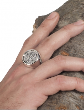 Rhodes island (city)- Apollo - Helios ancient sun god chevalier coin ring for men