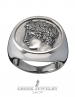 1132 Large Mens Greek God Apollo coin ring XL