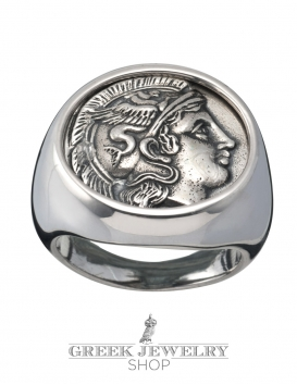 1133 Goddess Athena chevalier coin ring (XL)